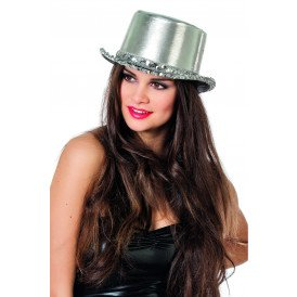 Hoge hoed lamee met paillettenband