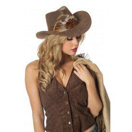Cowboyhoed met veren, bruin
