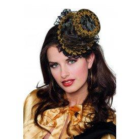 Hoge hoed mini met clip, goud/zwart