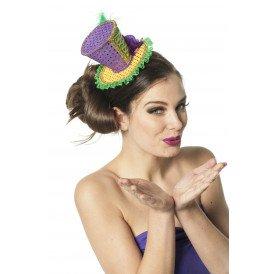 Mini hoed Mardi gras, geel/paars/groen