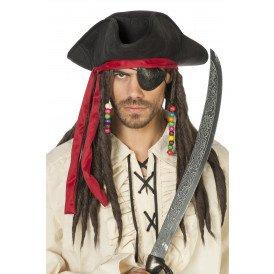 Piratenhoed Jack met haarband en dreads, zwart