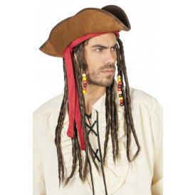 Piratenhoed Jack met haarband en dreads, bruin