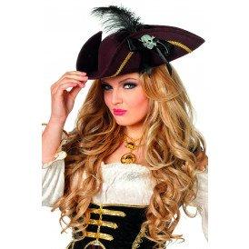 Piraten driesteek met doodskop, bruin