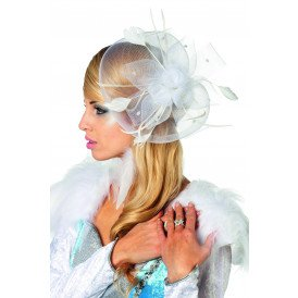 Haarkam bloem met veren, wit