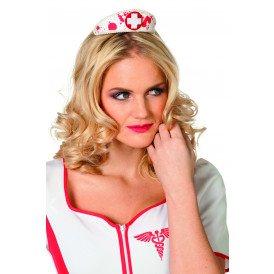 Verpleegsterkapje met bloed op clip, wit