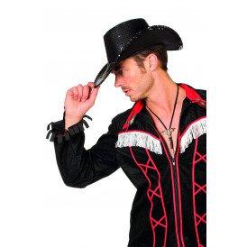 Cowboyhoed pailletten, zwart