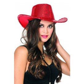 Cowboyhoed pailletten, rood