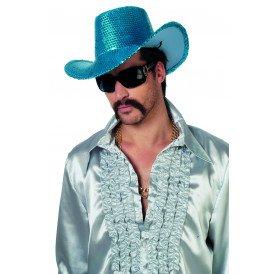 Cowboyhoed pailletten, blauw
