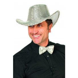Cowboyhoed pailletten, zilver