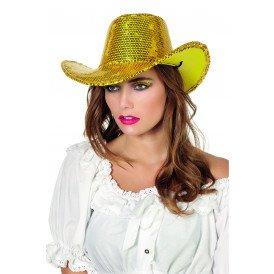 Cowboyhoed pailletten, goud