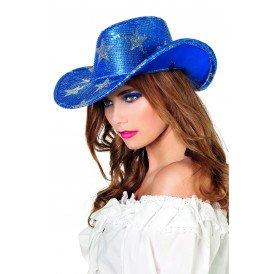 Cowboyhoed pailletten, blauw met ster