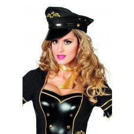 Pilotenpet de luxe, zwart/one size