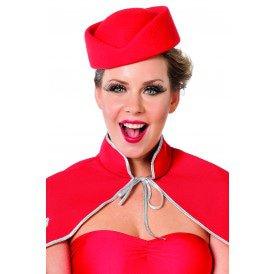 Hoed stewardess wolvilt, rood