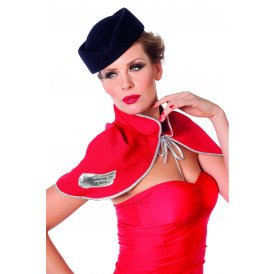 Hoed stewardess wolvilt, blauw