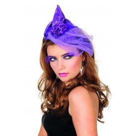 Haarband met heksenhoed en tule, paars