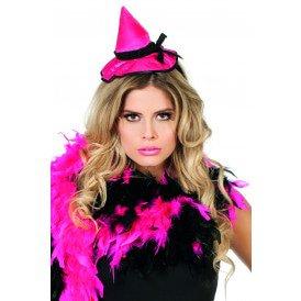 Haarband met heksenhoed, neon-pink