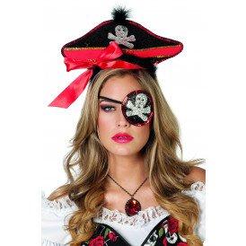 Piratenhoed met ooglapje pailletten, zwart