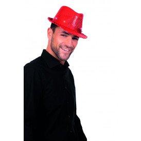 Gangsterhoed met pailletten en LED-verlichting, rood