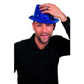 Gangsterhoed met pailletten en LED-verlichting, blauw