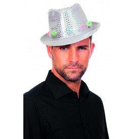 Gangsterhoed met pailletten en LED-verlichting, zilver