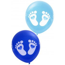 Geboorteballon VOETJES per 8 ass kl blauw 12 inch
