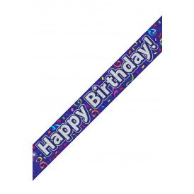Banner 9 ft / 2.7 meter holograpic HAPPY BIRTHDAY