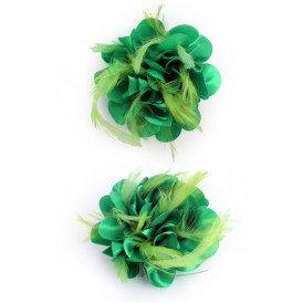 Bloem zijde met veertjes met clip/speld groen