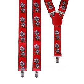 Bretel Tiroler rood met edelweissbloem