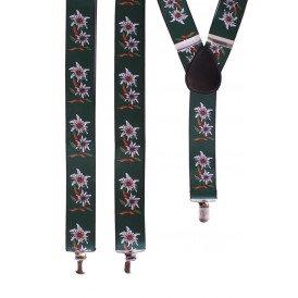 Bretel Tiroler groen met edelweissbloem