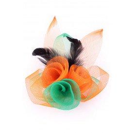 Broche tule 3 bloemen met veertjes oranje-groen-oranje