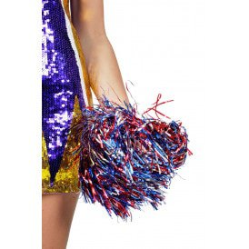 Cheerleader pompom lametta rood/blauw/zilver