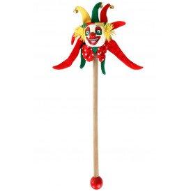 Clown rood-geel-groen op stokje 30 cm