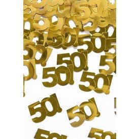 """Confetti zakje 15 gr. goud metallic """"50"""""""