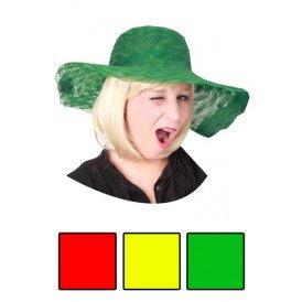 Dames organza hoed gaas rood of geel of groen