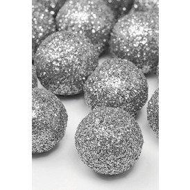 Decoratie ballen glitter zilver 2 cm. 25 stuks