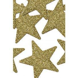 Decoratie sterren glitter goud 5 cm. 8 stuks