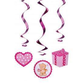 Decoratie swirls teddyberen roze 5 st. 60 cm.