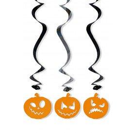 Decoratie swirls halloween pompoen 5 st. 60 cm.