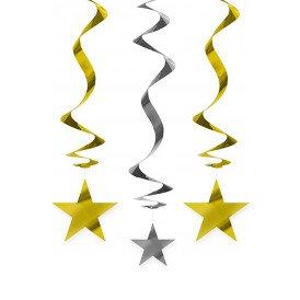 Decoratie swirls sterren goud/zilver 5 st. 60 cm.