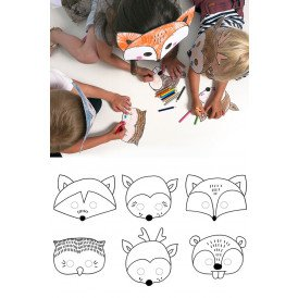 Maskers dieren DIY papier 6 st.