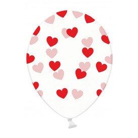 Ballonnen doorzichtig met rode hartjes 30 cm. per 6