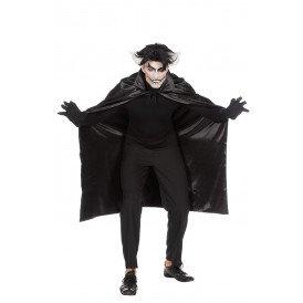 Dracula cape dubbel met kraag zwart