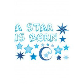 Adhesive geboorte a star is born blauw jongens