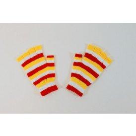 Vingerloze handschoen rood/wit/geel smalle strepen