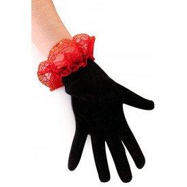 Handschoen Day of the Dead met rood kant