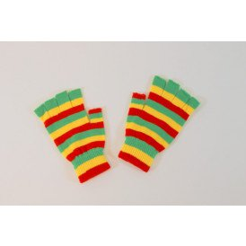 Vingerloze handschoen rood/geel/groen smalle streep