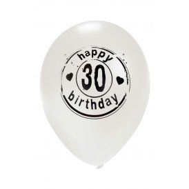 Ballon wit HAPPY 30 BIRTHDAY 24 inch Ø50 cm