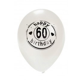 Ballon wit HAPPY 60 BIRTHDAY 24 inch Ø50 cm