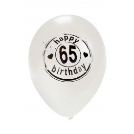 Ballon wit HAPPY 65 BIRTHDAY 24 inch Ø50 cm