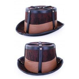 Steampunk hoed bruin decoratief met elastieke band